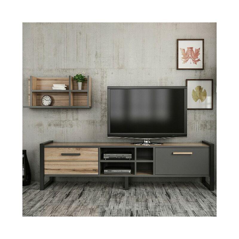 Homemania - Leno TV-Schrank - Modern - mit Tueren, Regal, Einlegeboeden - vom Wohnzimmer - Nussbaum, Anthrazit, Schwarz aus Holz, Metall, 72 x 22 x