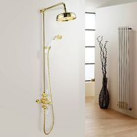 Lenor Gold Exposed Traditional Thermostatic Shower Mixer Round Dual Head Set - Slider Rail