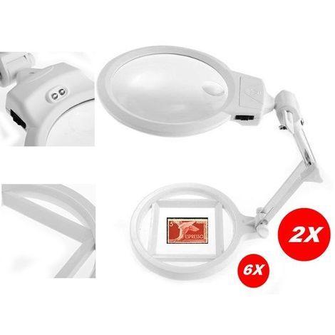 HelloCreate lente dingrandimento a LED per lettura fai da te Lente dingrandimento pieghevole con supporto da tavolo 2,5 x