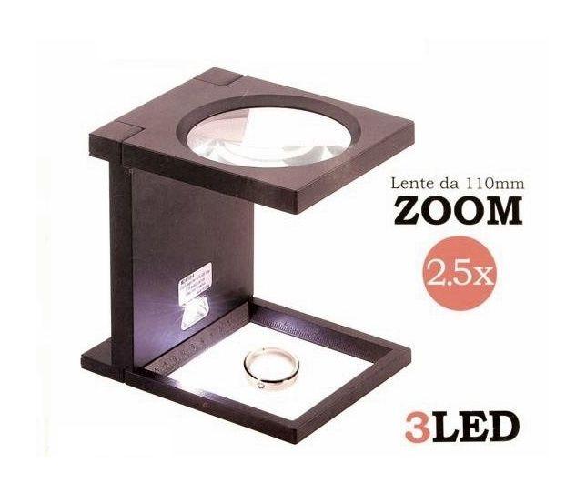 Lente di ingrandimento 5//11X con luce a 8 LED pieghevole da tavolo