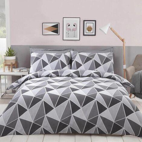 Leo Geometric Double Duvet Quilt Cover Bedding Set Grey