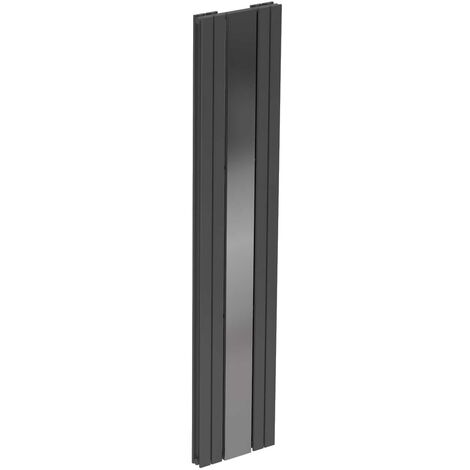 Leon Anthracite 1800mm x 381mm Vertical Panel Radiator with Mirror