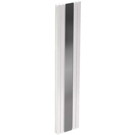 Leon White 1800mm x 381mm Vertical Panel Radiator with Mirror