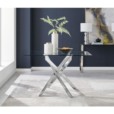 "main image of ""Leonardo 4 Glass And Chrome Metal Dining Table"""