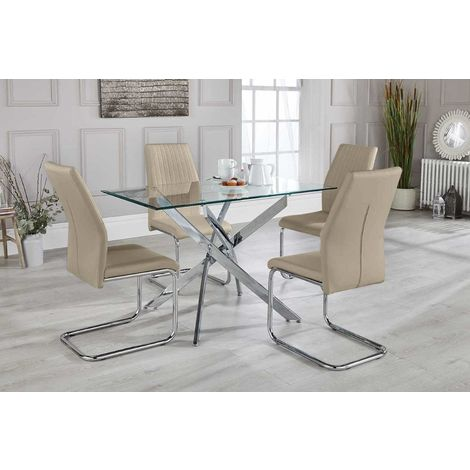 Leonardo Glass And Chrome Metal Dining Table And 4 Beige Lorenzo Dining Chairs