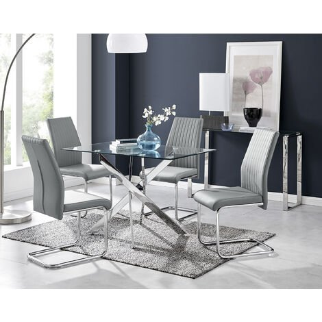 Leonardo Glass And Chrome Metal Dining Table And 4 Lorenzo Dining Chairs