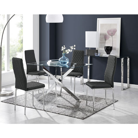 Leonardo Glass And Chrome Metal Dining Table And 4 Milan Chairs Set