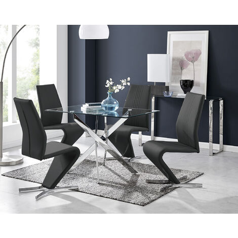 Leonardo Glass And Chrome Metal Dining Table And 4 Willow Chairs Set