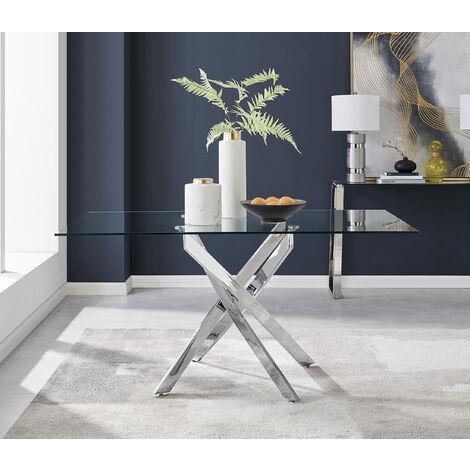 "main image of ""Leonardo Glass And Chrome Metal Modern Dining Table"""