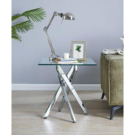 "main image of ""Leonardo Glass And Chrome Metal Side Table"""