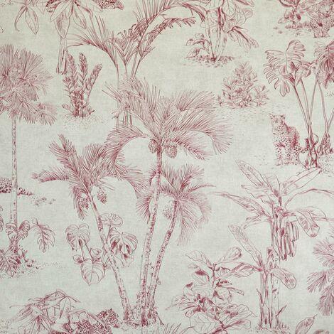 Leopard Jungle Wallpaper Red Burgundy Beige Natural AS Creation Rainforest