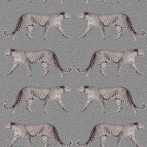 """main image of """"Leopard Print Animal Wallpaper Silver Glitter Shimmer Grey Charcoal Textured"""""""