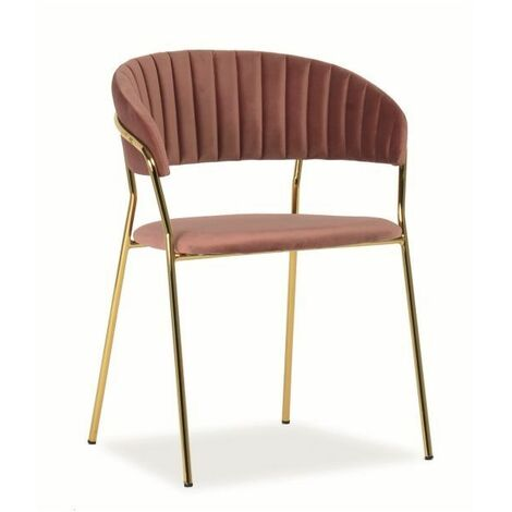 """main image of """"LERA - Chaise glamour salon/bureau/salle à manger - Dimensions : 75x57x52 cm - Tissu vélouté - Cadre en métal - Fauteuil bureau - Rose"""""""