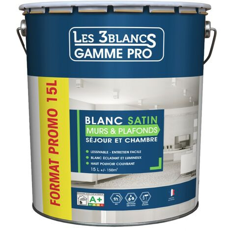 Les 3 Blancs Murs & Plafonds 15L Satin