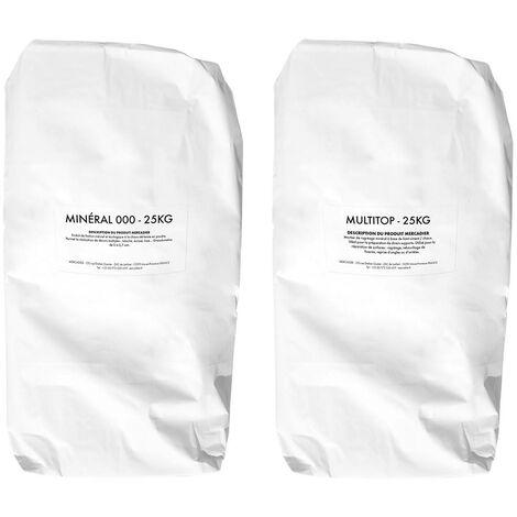 Les 3 Matons - Enduit Batard Poudre 50kg (Multitop+Mineral 000)