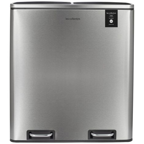 LES COLLECTORS N°904 Mülleimer Küche -Recycling Behälter 60L 2x30L Edelstahl 66cm