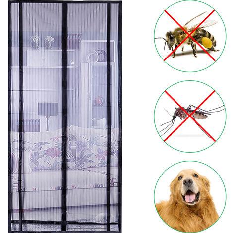 Les fenetres et les portes a ecran crypte anti-moustique a bande magnetique sans usure peuvent etre coupees en grand bloc magnetique avec Velcro de 13 cm sans punaises, noir 100 * 220 cm