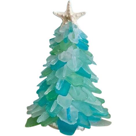 Les mini-decorations de table de Noel en verre bleu bricolage sapin de Noel doivent etre assemblees par vous-meme
