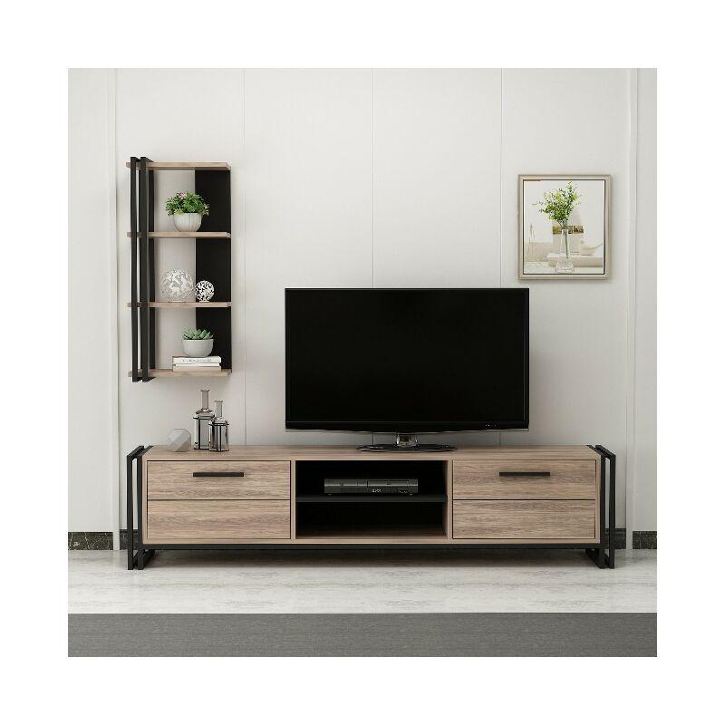 Homemania - Lesa TV-Schrank - Modern mit Buecherschrank - mit Tueren, Regalen, Einlegeboeden - vom Wohnzimmer - Schwarz, Holz aus Holz, Metall, 192 x