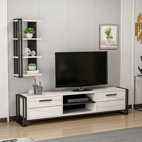 Lesa Tv Stand - Modern - with Doors, Shelves, Shelves - Living Room - Black, White Wood, Metal, 192 x 35 x 45 cm