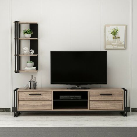 Lesa TV Stand - with Bookcase, Doors, Shelves - for Living Room - Black, made in Wood, Metal 192 x 35 x 45 cm