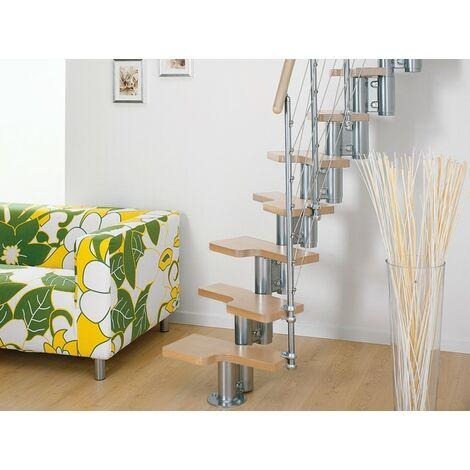 L'espace scène polyvalente pixima - acier chromé escalier en hêtre clair