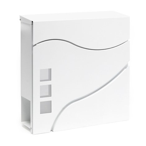Letterbox modern design V28 wall mounted newspaper compartment white lockable