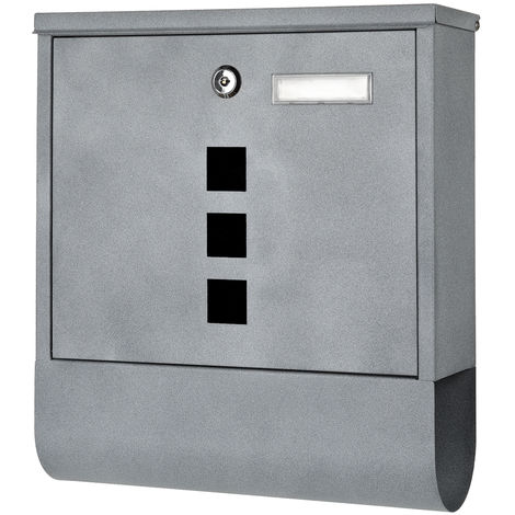 Letterbox Wall mailbox Postbox Newspaper box Wide Black White Stainless steel Grey