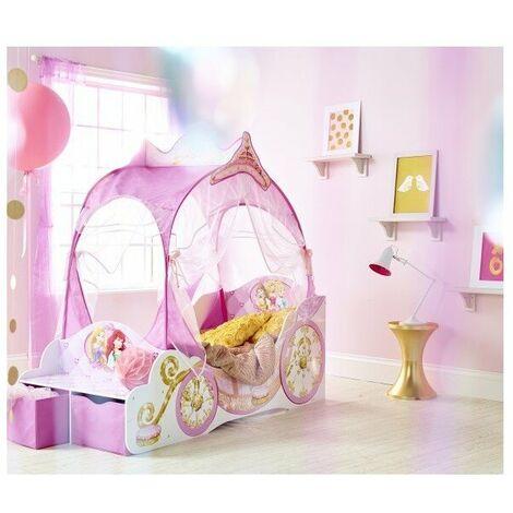 Lettino a forma di carrozza delle principesse per bambine. dimensioni 171 x 76cm struttura in mdf e tendine in polyestere