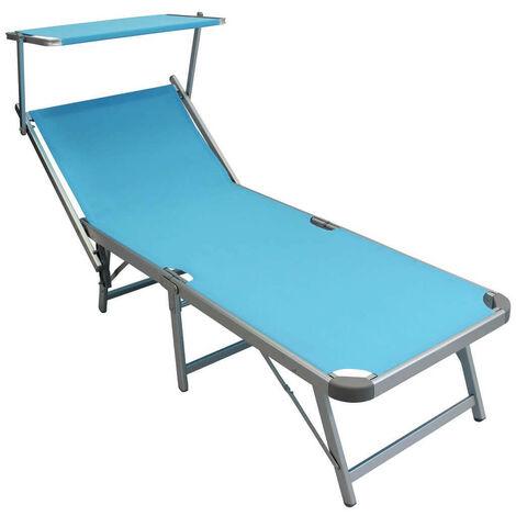 Lettino Pieghevole Campeggio.Lettino Da Campeggio Sdraio Pieghevole Azzurro Con Tettuccio Per Spiaggia Mare Piscina Giardino Esterno