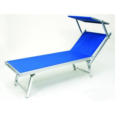 Lettino da mare Beach colore blu alluminio piscina prendisole reclinabile