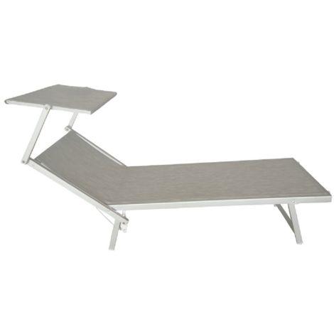 Lettino da mare Beach colore grigio alluminio piscina prendisole reclinabile