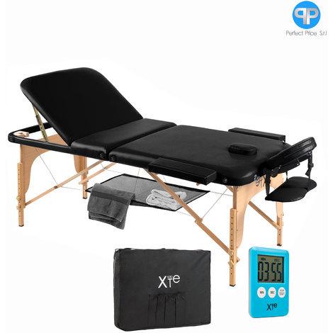Lettino Da Massaggio Elettrico.Lettino Nero Da Massaggio Lettini Per Massaggi Estetica 3 Zone Legno