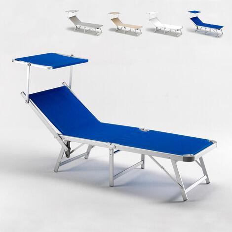 Lettini Da Spiaggia Alluminio.Lettino Mare Pieghevole Parasole Spiaggia Giardino Alluminio