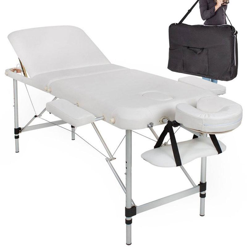 Lettino Massaggio Professionale Pieghevole.Lettino Massaggio 3 Zone Professionale Portatile Pieghevole In Alluminio Massaggi Estetica Fiosioterapia Con Borsa Bianco
