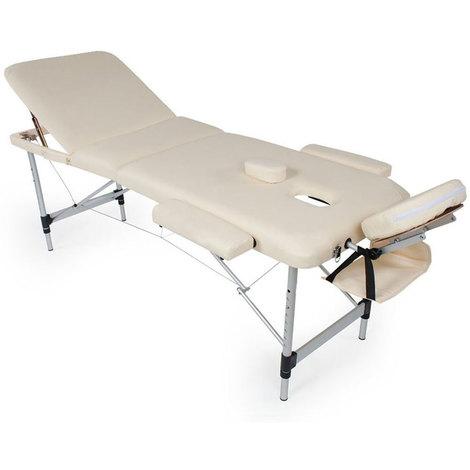 Lettino Per Massaggio Portatile In Alluminio.Lettino Massaggio Pieghevole Alluminio Massaggi Estetica 3 Zone Portatile Beige
