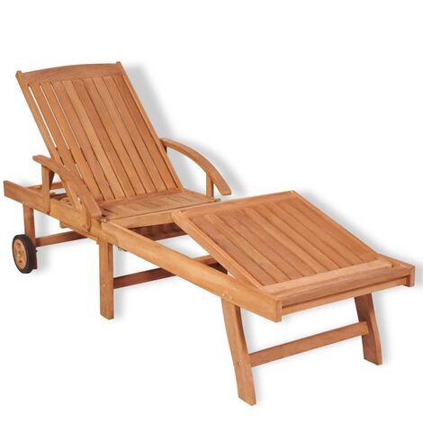 Sedia a Sdraio con Poggiapiedi Legno di Teak Lettino Patio Prendisole