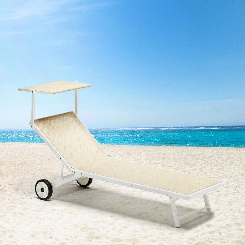 Sdraio Con Ruote Da Spiaggia.Lettino Prendisole Mare Con Ruote Sdraio Alluminio Giardino Piscina