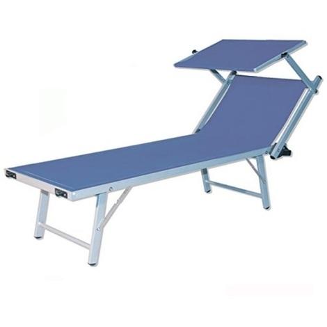 lettino fisso blu con parasole prendisole in alluminio per mare e piscina