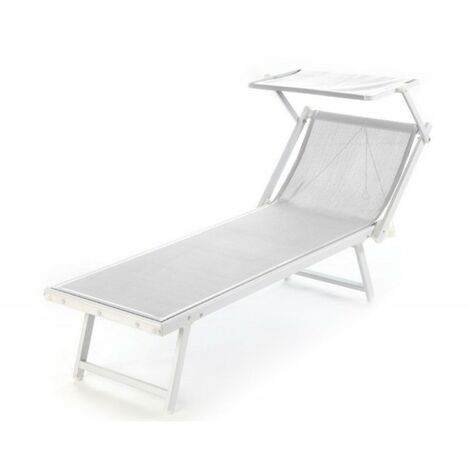 Lettini Da Spiaggia Alluminio.Lettino Riccione Da Spiaggia Con Tettuccio Bianco O Blu
