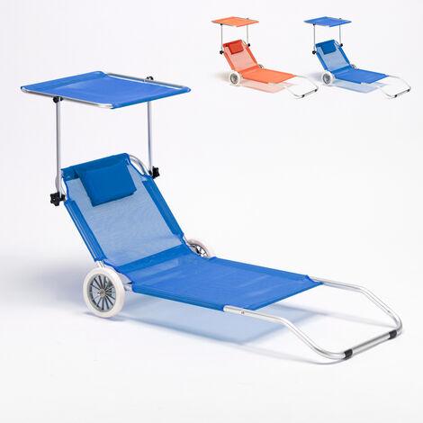 Sdraio Con Ruote Spiaggia.Lettino Spiaggia Mare In Alluminio Con Ruote Richiudibile