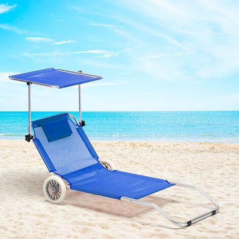 Sdraio Da Spiaggia Con Ruote.Lettino Spiaggia Mare In Alluminio Con Ruote Richiudibile Banana