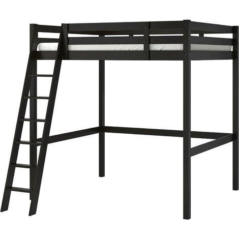 Letti A Castello Ikea Catalogo.Letto A Soppalco In Legno 200x140 Cm Nero O Mordente Bianco Colore