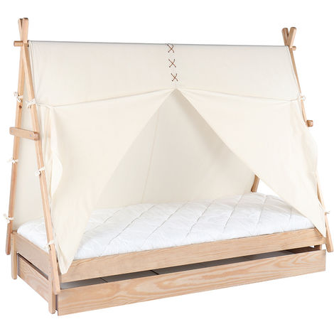 """main image of """"Letto bambino tenda con cassetto in legno e cotone naturale APACHE"""""""