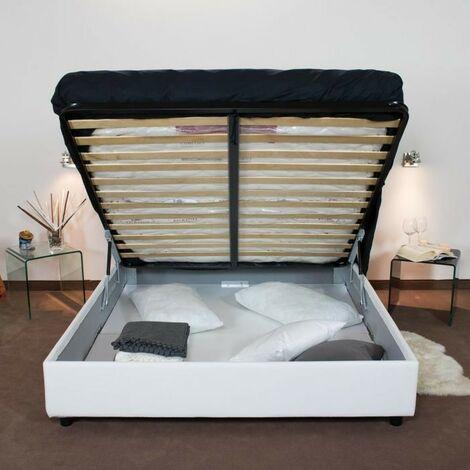 Letto contenitore con testata, rete a doghe e piedini in varie misure alto 27 cm Bianco