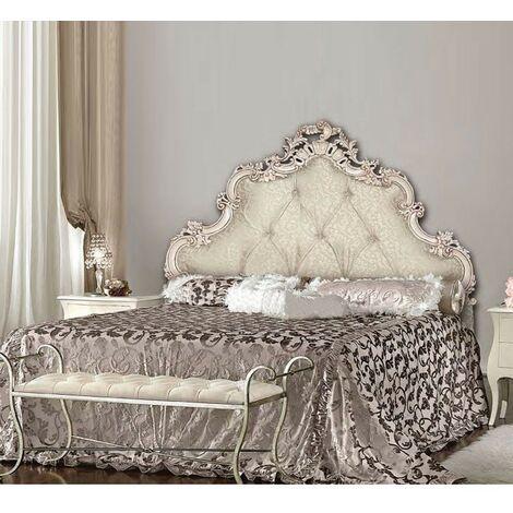 Letto matrimoniale barocco testiera intagliata imbottita contenitore 175x202xh.175 cm