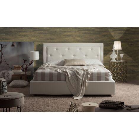Letto In Ecopelle Bianco Con Contenitore.Letto Matrimoniale Chanel Con Contenitore In Ecopelle Bianco