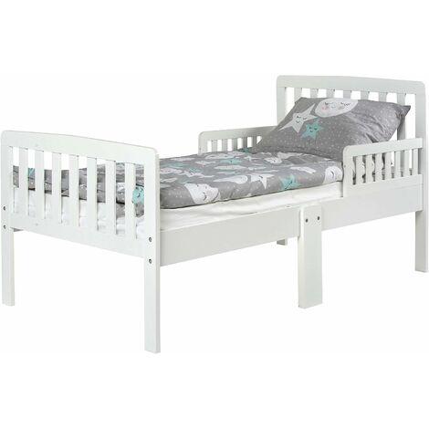 """main image of """"Letto moderno per bambini in legno con barre e materasso 140x70 cm - colore Bianco"""""""