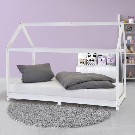 """main image of """"Letto per bambini bianco in legno massiccio 200x90 cm letto forma casa per bimbi"""""""