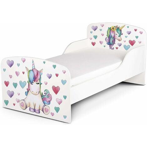 """main image of """"Letto per bambini in legno con materasso 140x70 motivo: Unicorno"""""""